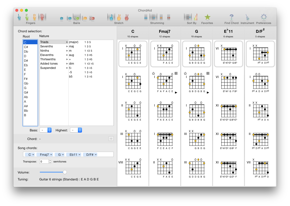 Screenshot of ChordAid for Mac