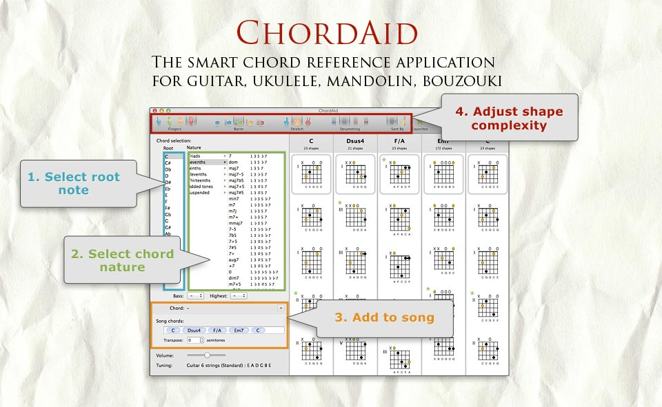 Chordaid For Mac Chord Charts For Guitar Ukulele Mandolin